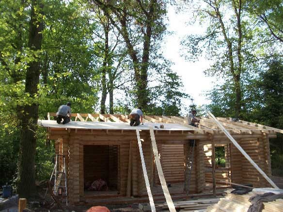 Log house construction in Maarn, Netherlands