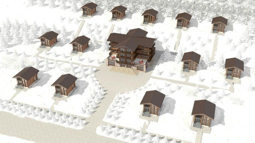 "Wooden Hotel Complex from glued laminate timber ""Snowy Georgia"""