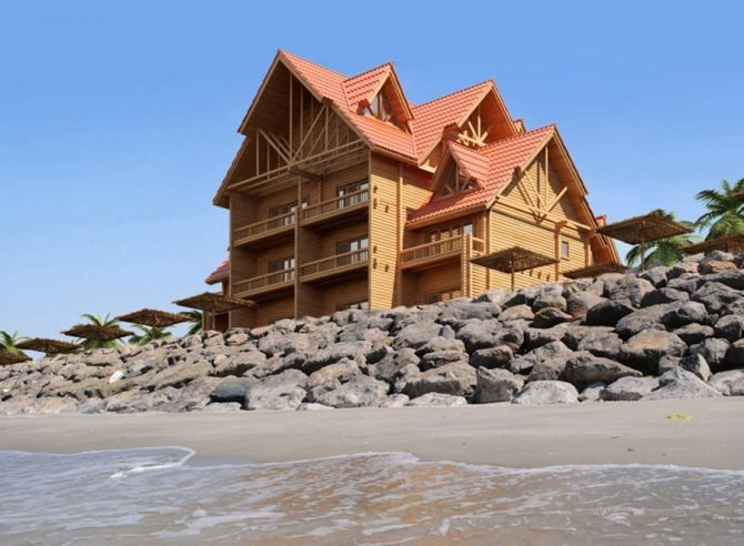 The real pearl of your hotel business – a wooden hotel on the sea coast!