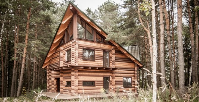 Log House  - the project of a house in country style with modern interior