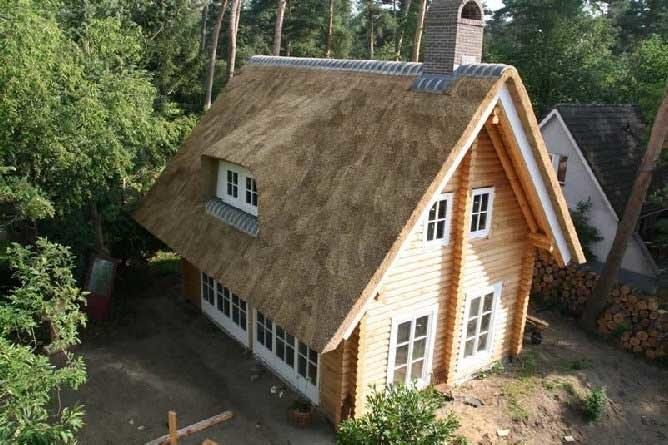 Gable roof in wooden house
