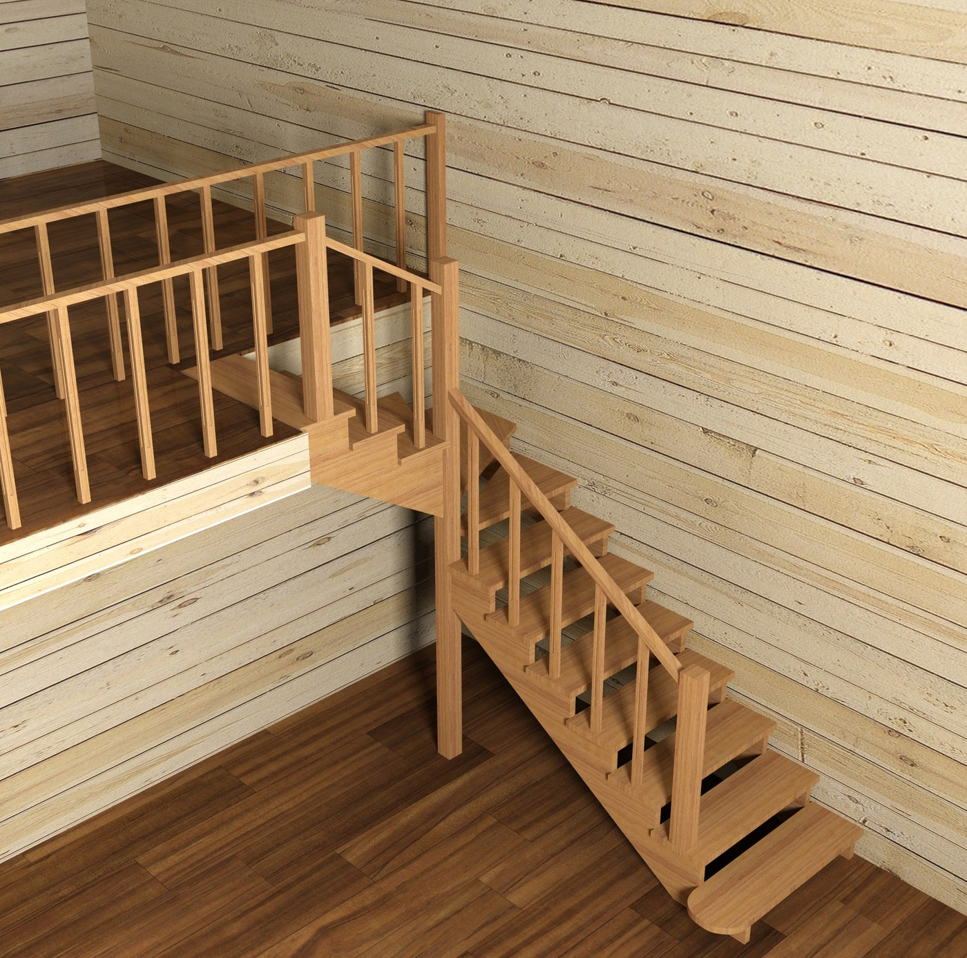 Choosing staircase construction in the wooden home