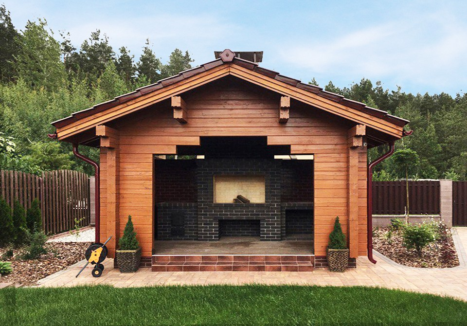 Wooden glued timber barbecue house