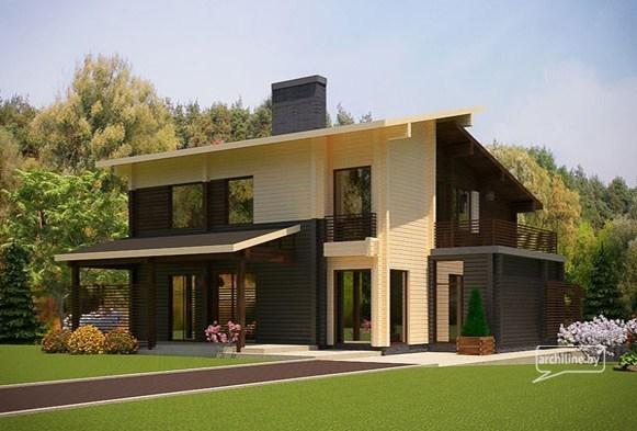 Modern Hi Tech Style Wooden House Design Montana Total Area 217 M