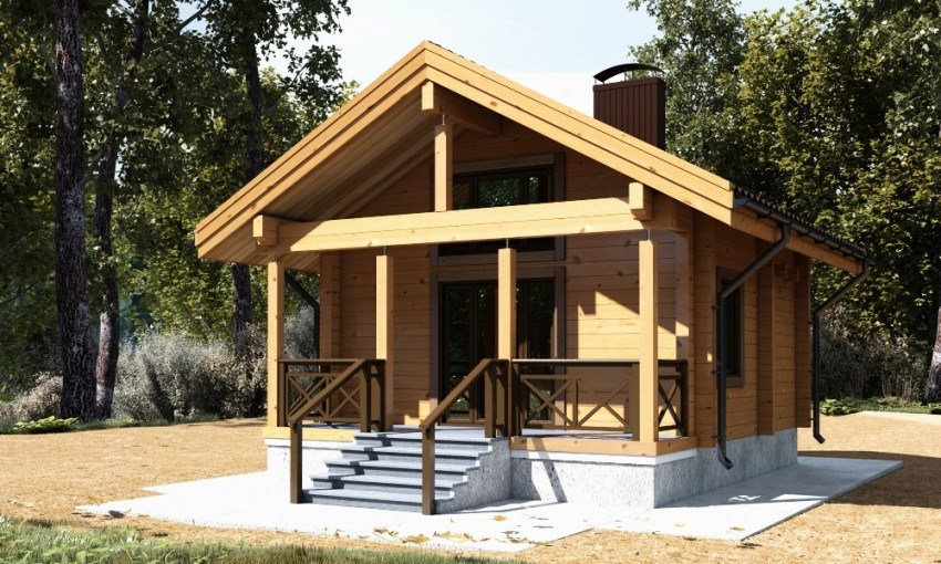 Wooden house « Eulenspiegel » from glued laminated timber, ready for assembling - 12.900 EURO