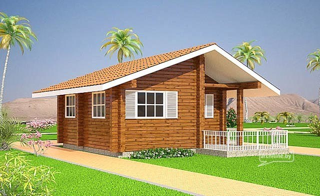 Modular homes: сamping wooden house 28 m²