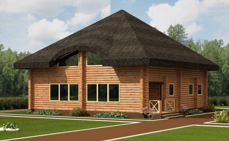 Log home  Unori  - a log cabin with a thatched roof