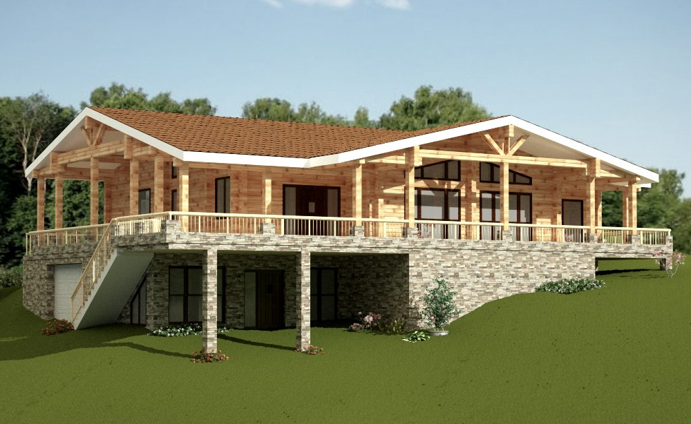 Wooden house plans: Italian summer wooden homes  Arlette  309m²
