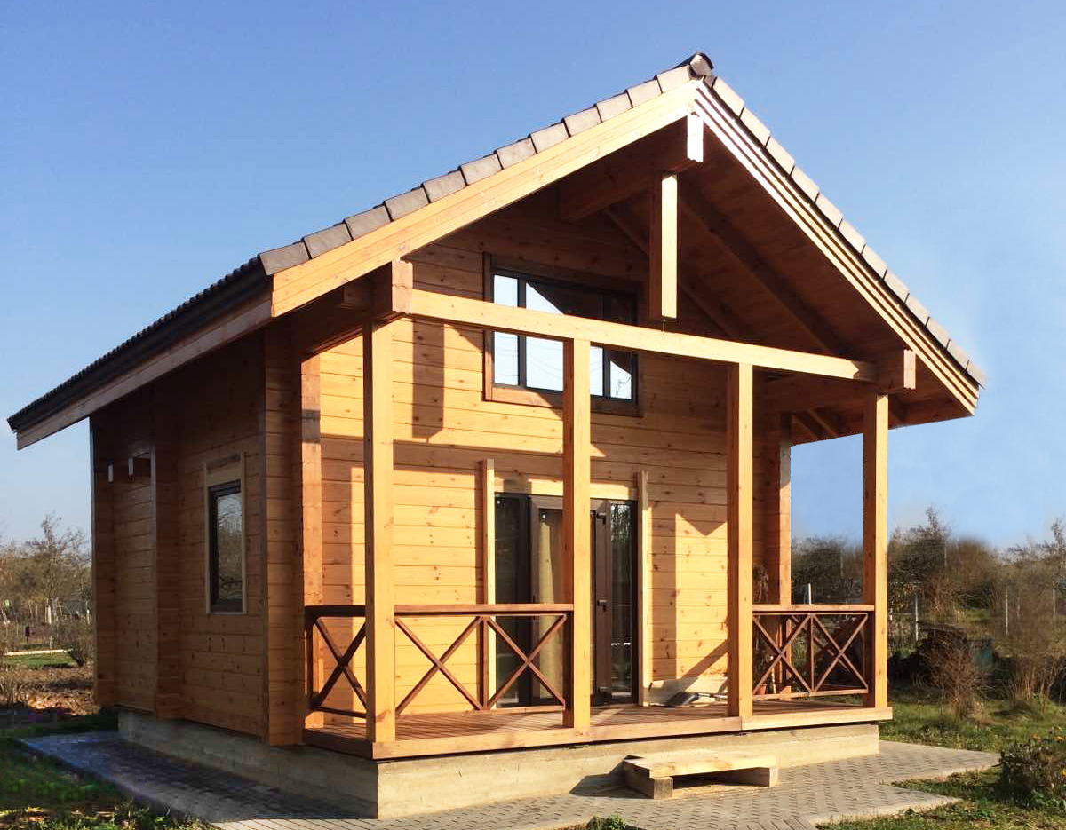 Wooden house of glued timber  Defender , area 48 m², wall thickness 16 cm - wall price: $ 12,200