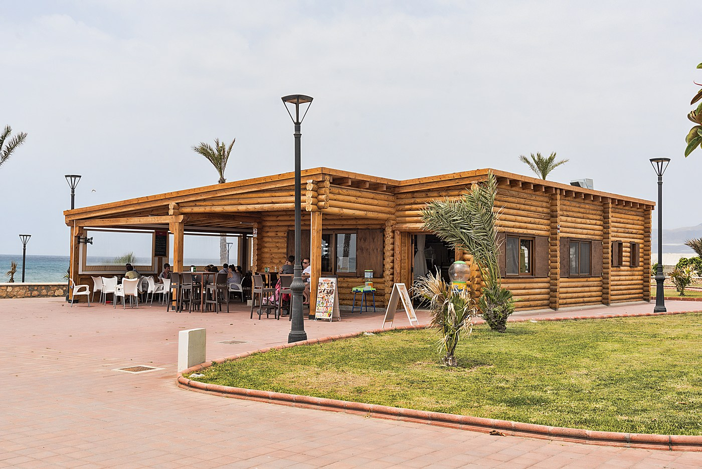 Building of wooden cafes and restaurants