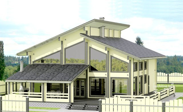 Wooden house plans: Clear spacious timber house Da Vinci style 405 m²