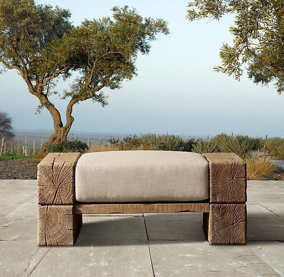 Furniture made of logs and timber