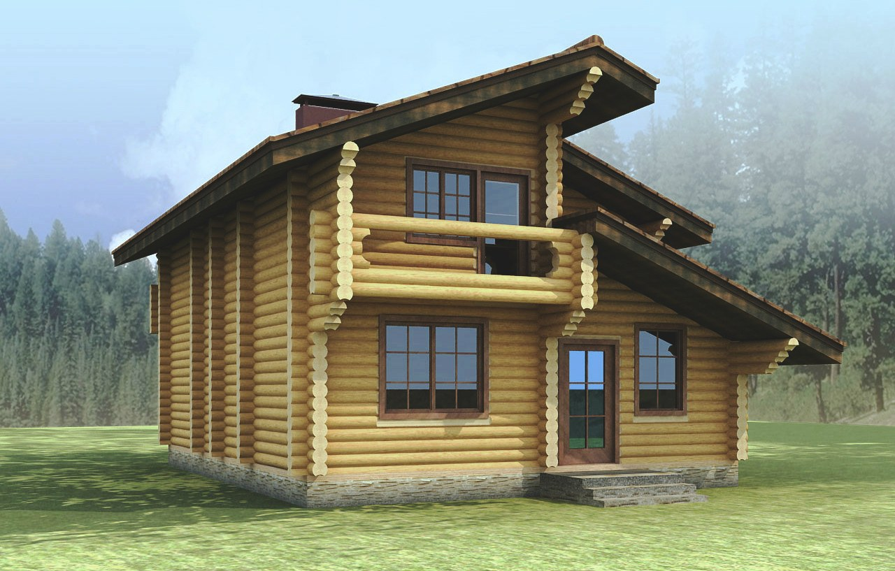 Tiny log cabin design - a plan of a log house  Cygnum  (quick order, favorable price)