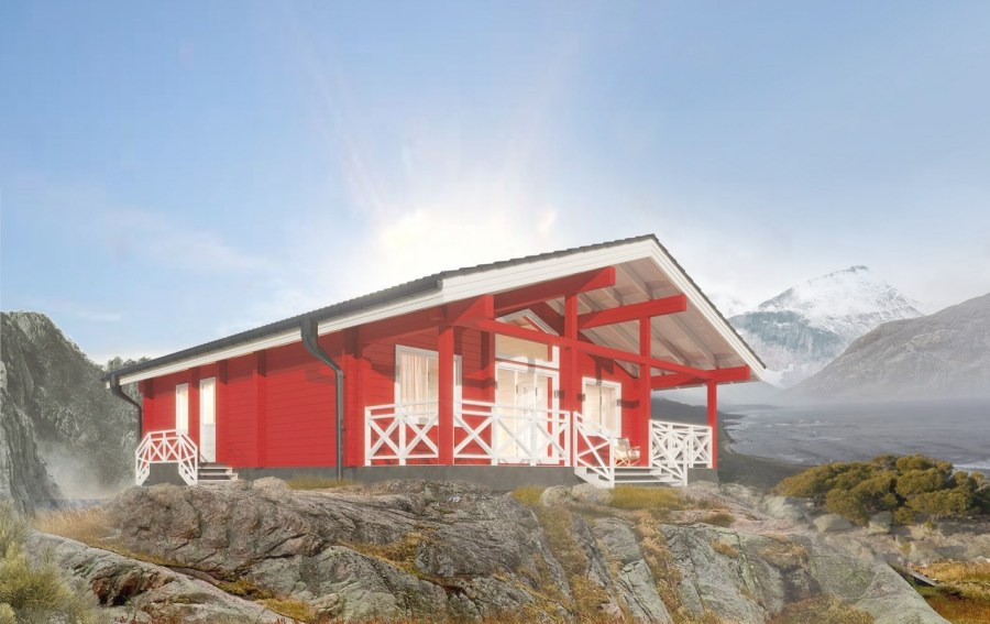 Wooden house made of glued laminated timber  Red House  103 sq.m