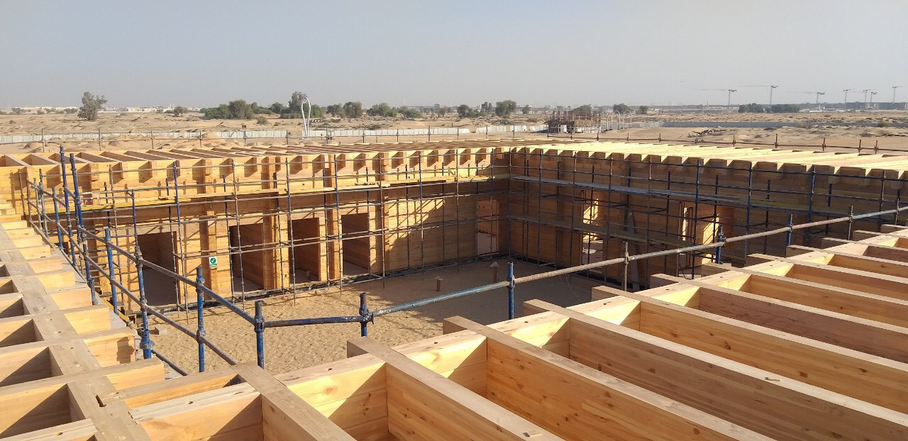 Construction of the wooden building of glued laminated timber in Dubai, UAE