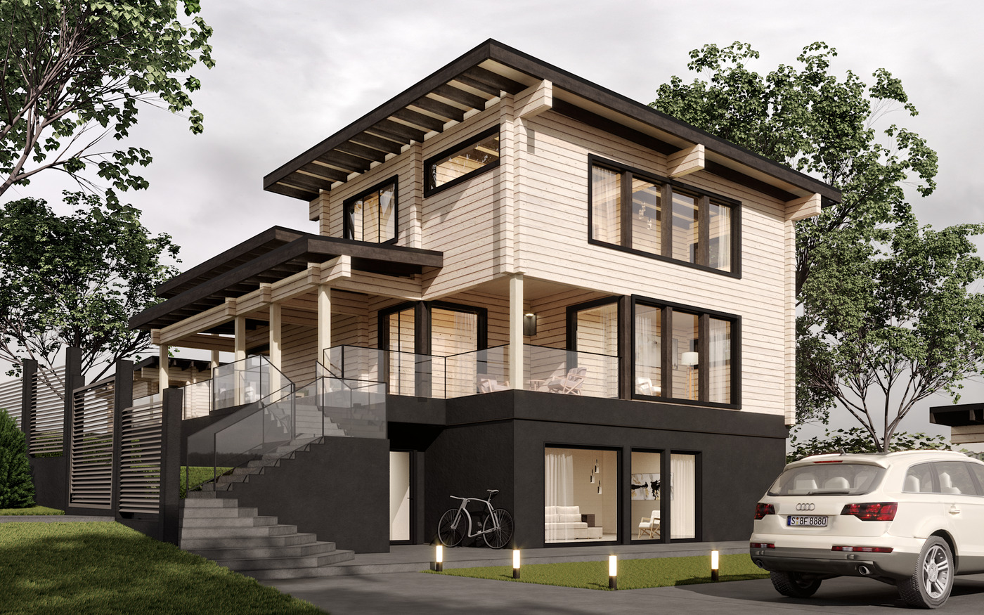 Wooden house with a basement of glued beams with a flat roof, project 268.86 m²