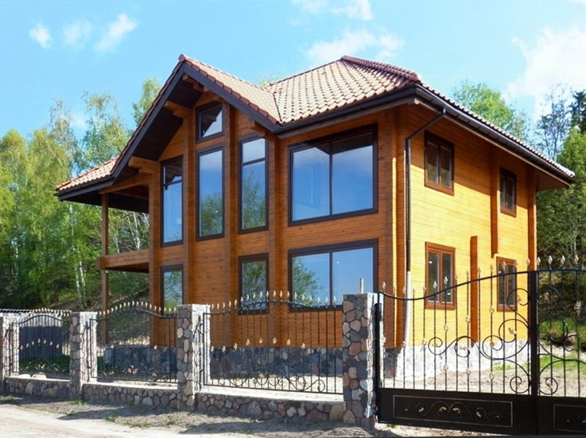 Wooden house  Aria  - modern timber home for your family! The project of a timber house with a balcony
